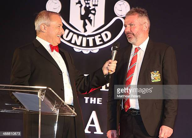 Brian McClair of Manchester United is interviewed by host Jim Rosenthal at the Manchester United Player of the Year awards at Old Trafford on May 8...