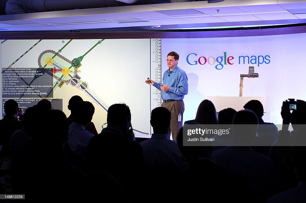Brian McClendon, Google VP of Engineering for Google Maps, speaks during a news conference about Google Maps on June 6, 2012 in San Francisco, California. Google announced new upgrades to Google maps including a feature to download maps and view offline, better 3D mapping and a backpack camera backpack camera device called Trekker that will allow Street View to go offroad on hiking trails and places only accessible by foot.