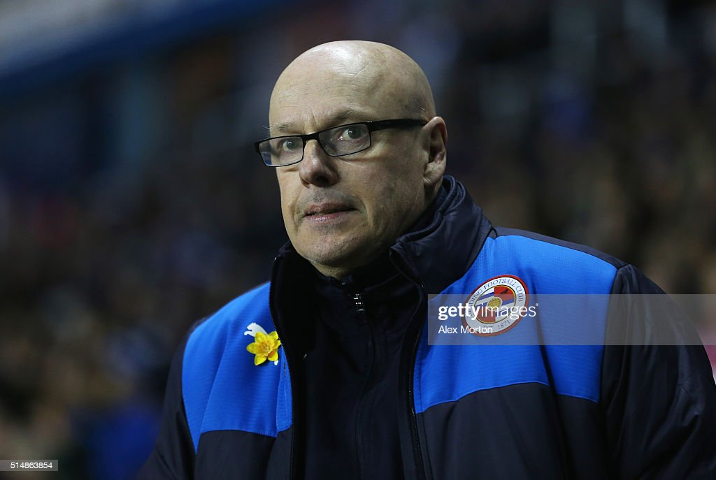 <a gi-track='captionPersonalityLinkClicked' href=/galleries/search?phrase=Brian+McDermott+-+Soccer+Manager&family=editorial&specificpeople=9647614 ng-click='$event.stopPropagation()'>Brian McDermott</a> manager of Reading looks on prior to the Emirates FA Cup sixth round match between Reading and Crystal Palace at Madejski Stadium on March 11, 2016 in Reading, England.