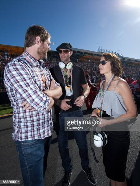 Brian McFadden and Dannii Minogue on the grid prior to the Australian Grand Prix at Albert Park Melbourne Australia