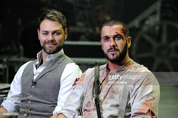 Brian McFadden and Shayne Ward performs during a dress rehearsal for 'War of the Worlds' on November 25 2014 in London England