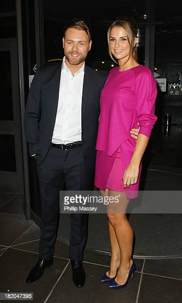 Brian McFadden and Vogue Williams attend the Late Late Show on September 27 2013 in Dublin Ireland