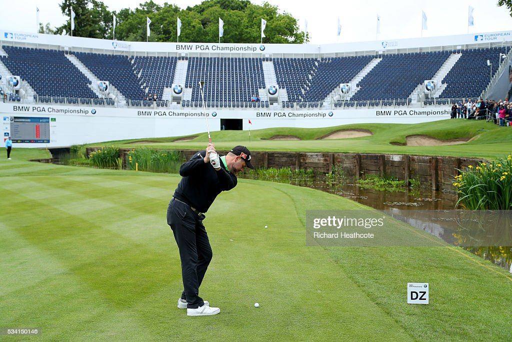 Brian McFadden in action during the Pro-Am prior to the BMW PGA Championship at Wentworth on May 25, 2016 in Virginia Water, England.