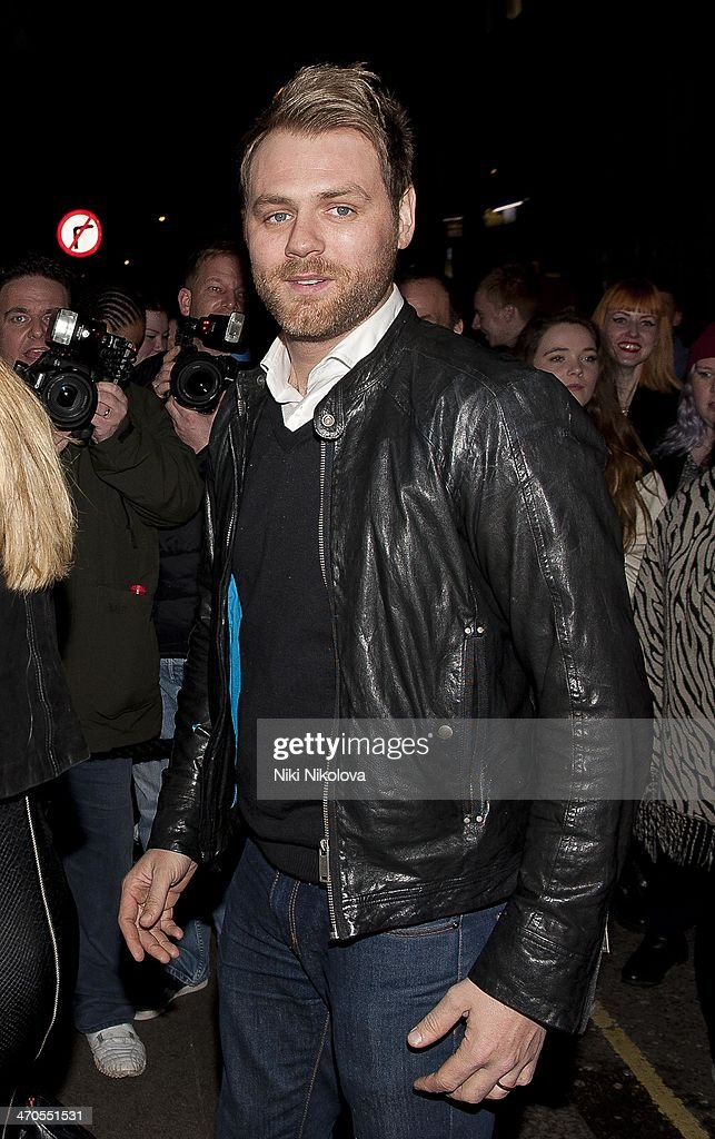 <a gi-track='captionPersonalityLinkClicked' href=/galleries/search?phrase=Brian+McFadden+-+Singer&family=editorial&specificpeople=14999715 ng-click='$event.stopPropagation()'>Brian McFadden</a> is seen arriving at the Sony party held at the Arts Club, Mayfair on February 19, 2014 in London, England.