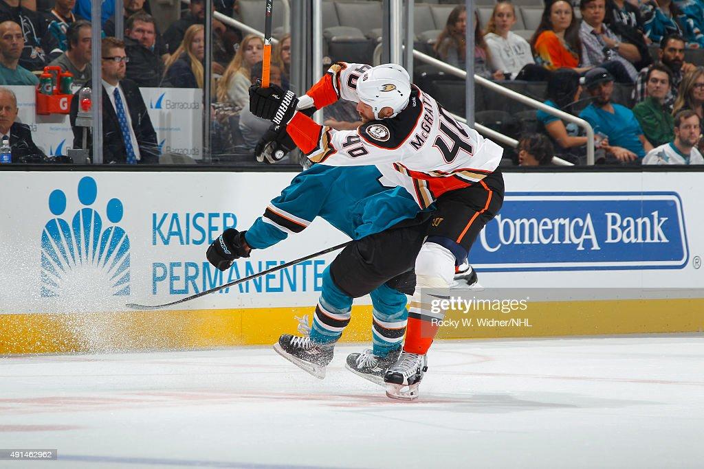 Brian McGrattan of the Anaheim Ducks skates against the San Jose Sharks at SAP Center on September 26 2015 in San Jose California