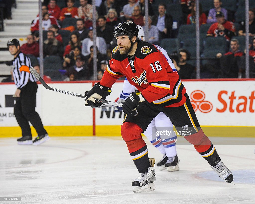 Brian McGrattan of the Calgary Flames in action against the New York Rangers during an NHL game at Scotiabank Saddledome on March 28 2014 in Calgary...