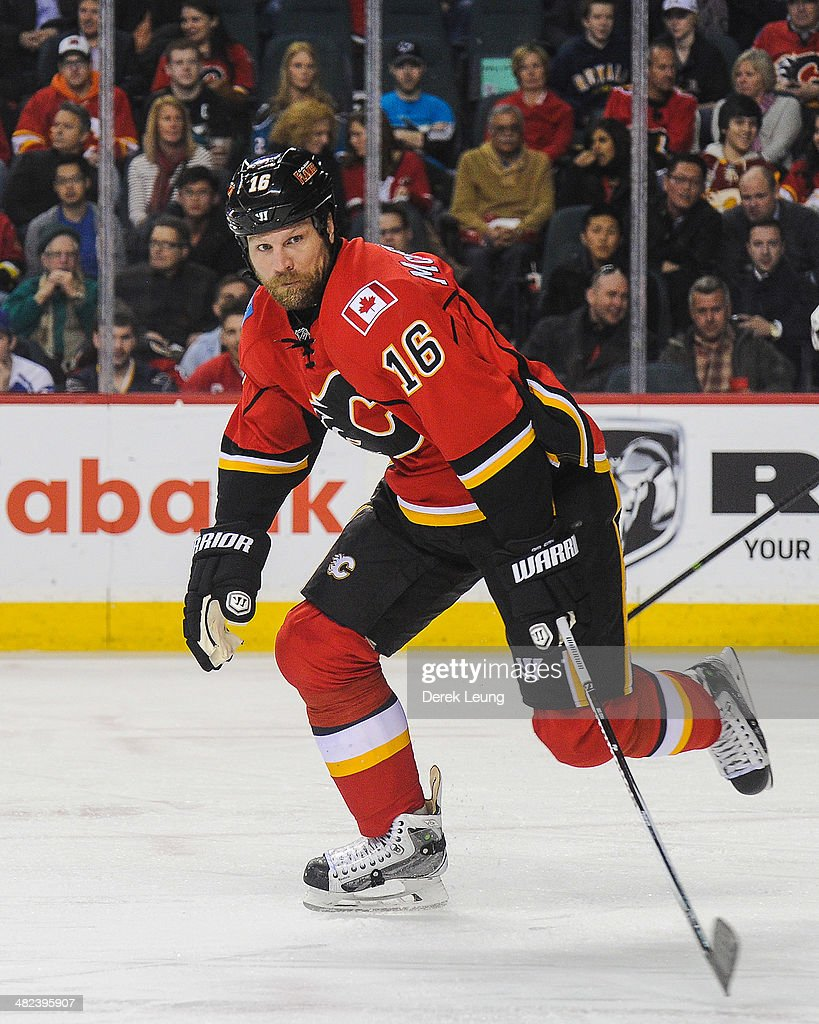Brian McGrattan of the Calgary Flames in action against the San Jose Sharks during an NHL game at Scotiabank Saddledome on March 24 2014 in Calgary...