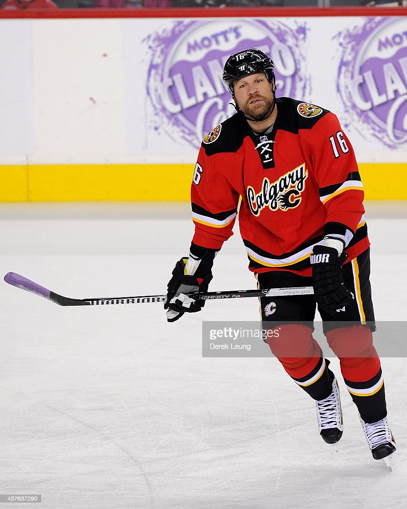 Brian McGrattan of the Calgary Flames in action against the Tampa Bay Lightning during an NHL game at Scotiabank Saddledome on October 21 2014 in...