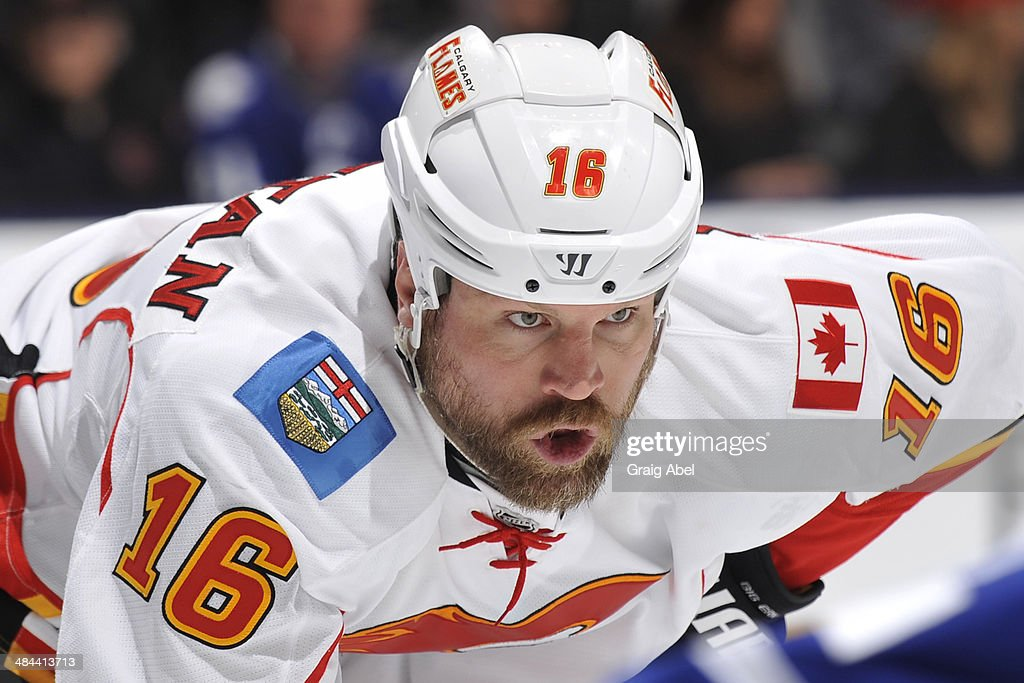 Brian McGrattan of the Calgary Flames looks on during NHL game action against the Toronto Maple Leafs April 1 2014 at the Air Canada Centre in...