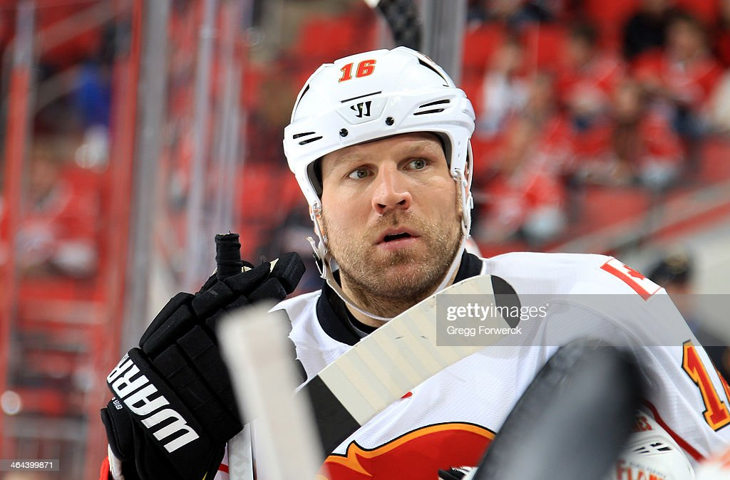 Brian McGrattan of the Calgary Flames prepares to take the ice following a time out during their NHL game against the Carolina Hurricanes at PNC...
