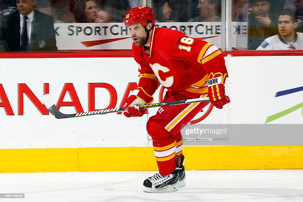 Brian McGrattan of the Calgary Flames skates against the Edmonton Oilers on April 3 2013 at the Scotiabank Saddledome in Calgary Alberta Canada The...