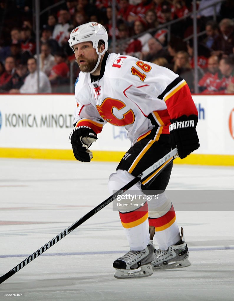 Brian McGrattan #16 of the Calgary Flames skates against the New Jersey Devils at the Prudential Center on April 7, 2014 in Newark, New Jersey. The Flames shutout the Devils 1-0.
