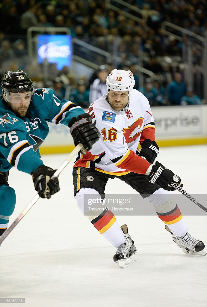 Brian McGrattan of the Calgary Flames skates against the San Jose Sharks during the first period at SAP Center on January 20 2014 in San Jose...
