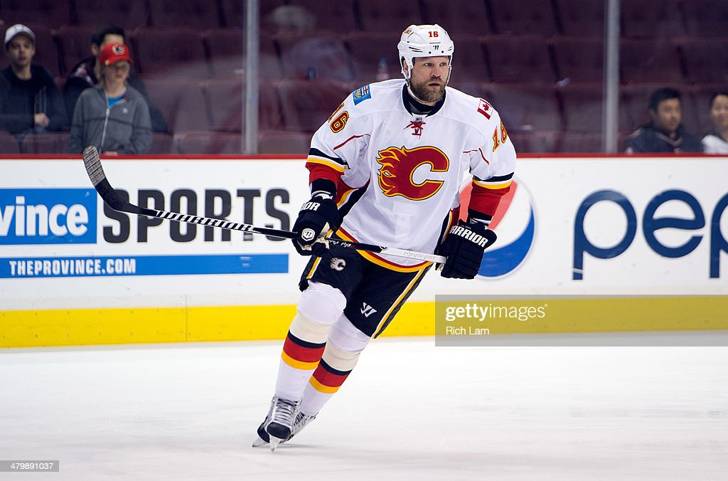 Brian McGrattan of the Calgary Flames skates during the pregame warmup prior to NHL action against the Vancouver Canucks on March 08 2014 at Rogers...