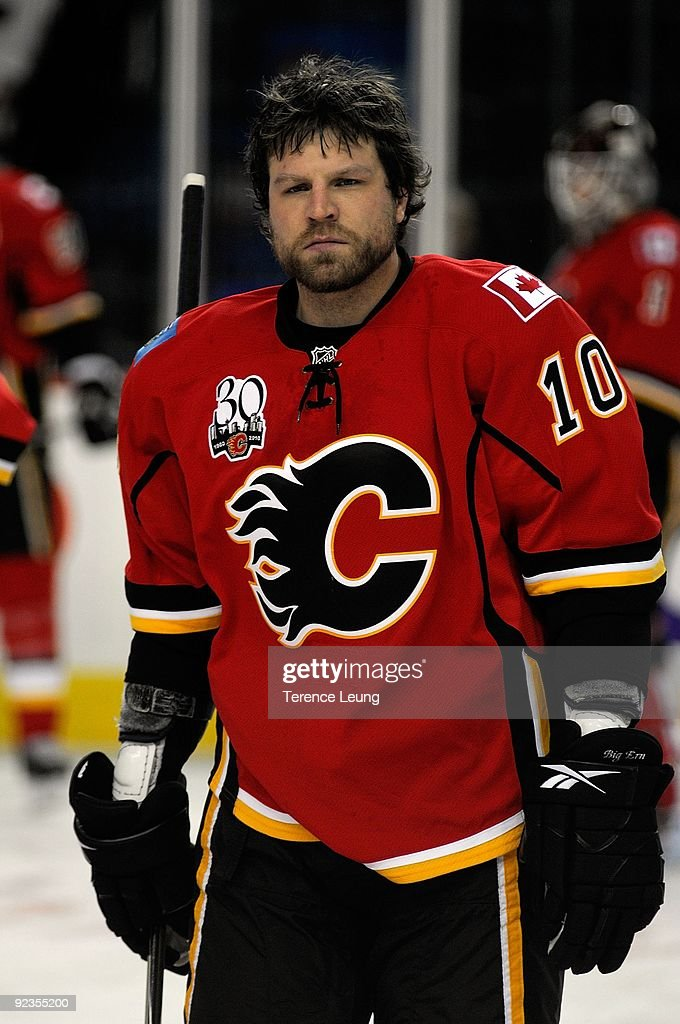 Brian McGrattan of the Calgary Flames skates during the warmup before the game against the Vancouver Canucks on October 16 2009 at Pengrowth...