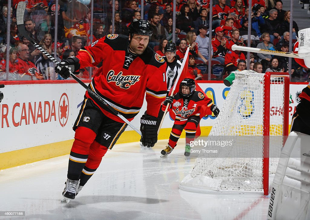 Brian McGrattan of the Calgary Flames skates prior to the game against the San Jose Sharks at Scotiabank Saddledome on December 6 2014 in Calgary...