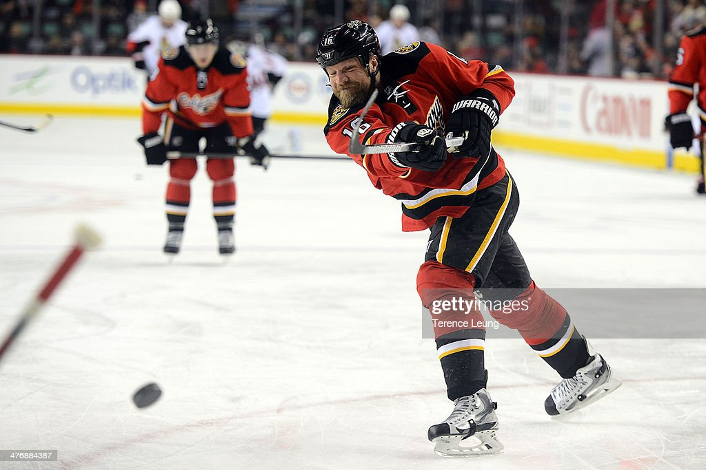 Brian McGrattan of the Calgary Flames warms up before the game against the Ottawa Senators at Scotiabank Saddledome on March 5 2014 in Calgary...