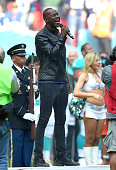 Brian McKnight performs at the NFL International fixture as the New York Jets compete against the Miami Dolphins at Wembley Stadium on October 4 2015...