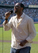 Brian McKnight sings the national anthem before Los Angeles Dodgers game agaiinst the New York Yankees at Dodger Stadium on Sunday June 20 2004