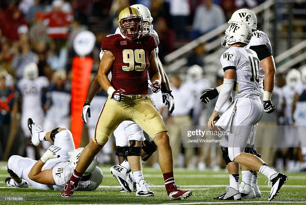 Brian Mihalik #99 of the Boston College Eagles reacts after sacking Tanner Price #10 of the Wake Forest Demon Deacons in the second quarter during the game on September 6, 2013 at Alumni Stadium in Chestnut Hill, Massachusetts.