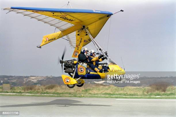 Brian Milton and Keith Reynolds start the second leg of their 'round the world in 80 days' trip in a Pegasus Quantum weightshift microlight as they...