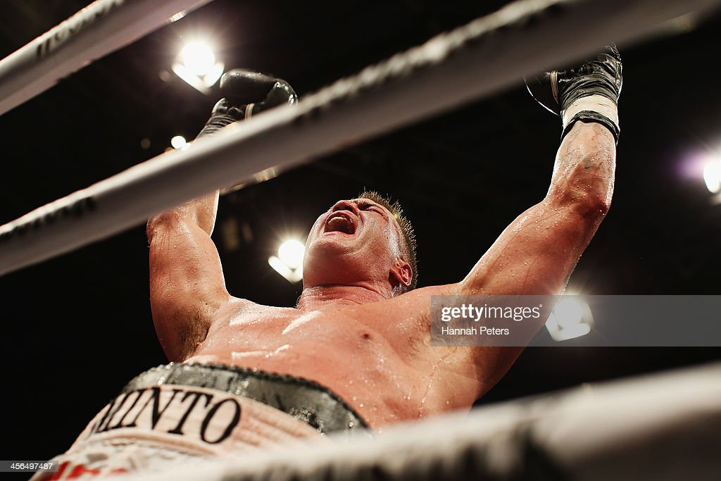 Brian Minto of the USA celebrates beating Shane Cameron of New Zealand during 'Fight for Life' at The Trusts Stadium on December 14 2013 in Auckland...
