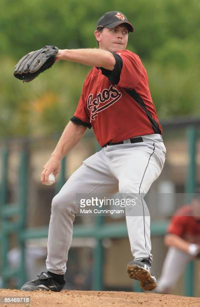 Brian Moehler of the Houston Astros pitches against the Detroit Tigers during the spring training game at Joker Marchant Stadium on March 17 2009 in...