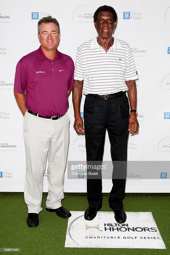 Brian Mogg (L) and <a gi-track='captionPersonalityLinkClicked' href=/galleries/search?phrase=Elgin+Baylor&family=editorial&specificpeople=630226 ng-click='$event.stopPropagation()'>Elgin Baylor</a> attend the 6th Annual Hilton HHonors Charitable Golf Series held at The Riviera Country Club on October 8, 2012 in Pacific Palisades, California.