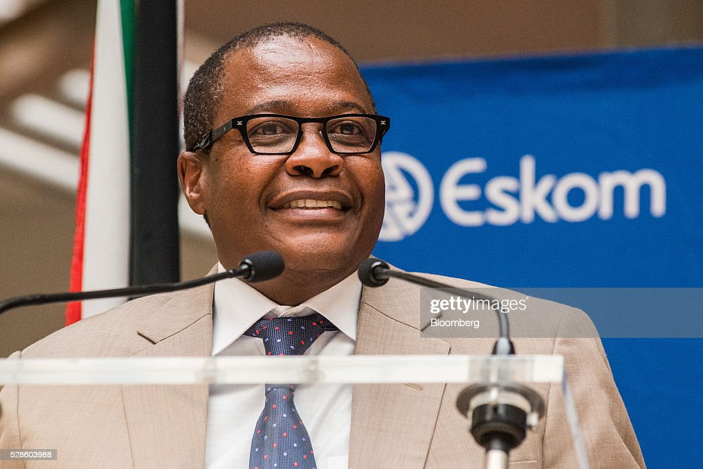 Brian Molefe, chief executive officer of Eskom Holdings SOC Ltd., speaks at the headquarters of Eskom Holdings SOC Ltd. at Megawatt Park in Johannesburg, South Africa, on Friday, May 6, 2016. It appears to be just a matter of time before South Africas credit rating is cut to junk. Photographer: Waldo Swiegers/Bloomberg via Getty Images