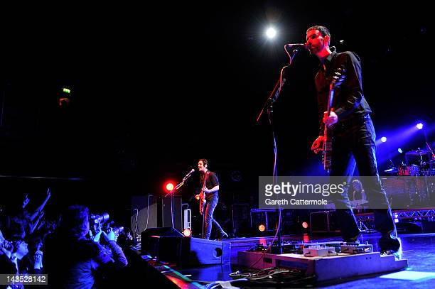 Brian Molko and Stefan Olsdal of Placebo perform during Sundance London at Indigo2 at O2 Arena on April 28 2012 in London England