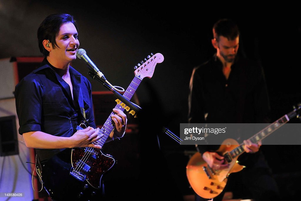 Brian Molko and Stefan Olsdal of Placebo perform live on stage during Sundance London Film & Music Festival at Indigo2 at O2 Arena on April 28, 2012 in London, United Kingdom.