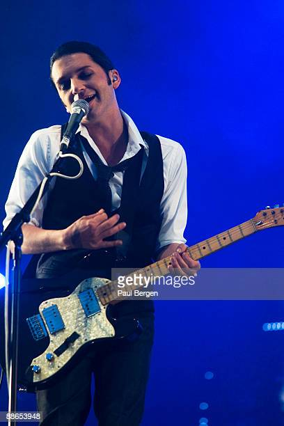 Brian Molko lead singer of Placebo performs on stage during the 40th anniversary of Pinkpop Festival Landgraaf Holland at Megaland on May 31 2009 in...