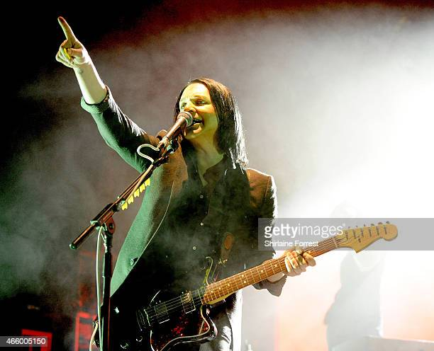 Brian Molko of Placebo performs at O2 Apollo Manchester on March 12 2015 in Manchester England