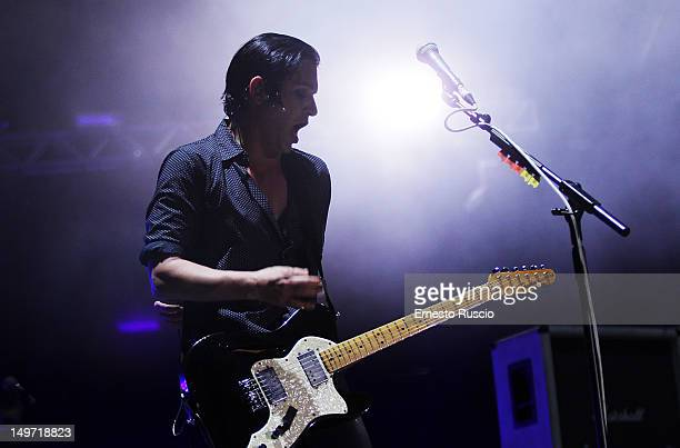 Brian Molko of Placebo performs at Rock In Roma at Ippodromo Delle Capanelle on August 02 2012 in Rome Italy