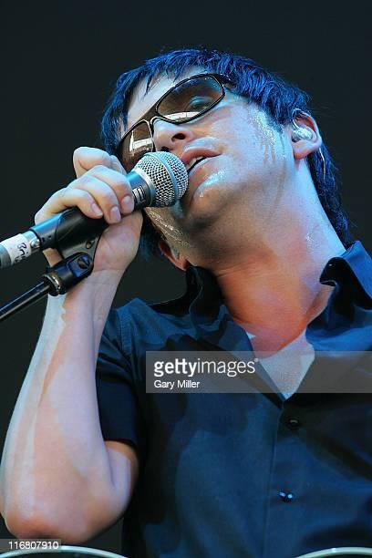 Brian Molko of Placebo performs at the Verizon Wireless Amphitheater in San Antonio Texas as part of the Projekt Revolution tour