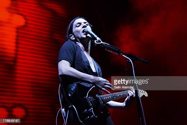 Brian Molko of Placebo performs live on stage at Parkorman on August 16 2013 in Istanbul Turkey