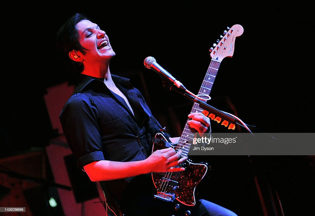 <a gi-track='captionPersonalityLinkClicked' href=/galleries/search?phrase=Brian+Molko&family=editorial&specificpeople=540626 ng-click='$event.stopPropagation()'>Brian Molko</a> of Placebo performs live on stage during Sundance London Film & Music Festival at Indigo2 at O2 Arena on April 28, 2012 in London, United Kingdom.