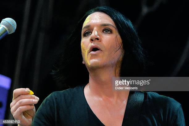 Brian Molko of Placebo performs on stage at Sziget Festival on August 13 2014 in Budapest Hungary