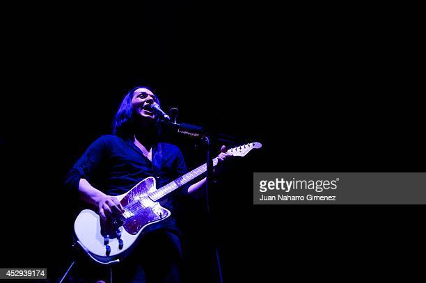 Brian Molko of Placebo performs on stage at the Palacio de los Deportes on July 30 2014 in Madrid Spain