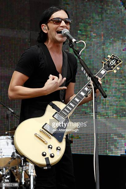 Brian Molko of Placebo performs on stage at the Sydney leg of the Soundwave Festival at Eastern Creek Raceway on February 21 2010 in Sydney Australia