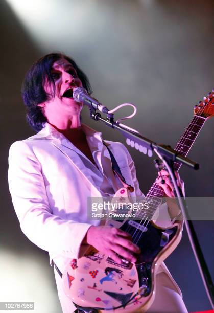 Brian Molko of Placebo performs on stage during Day 2 of the Exit Festival on July 9 2010 in Novi Sad Serbia