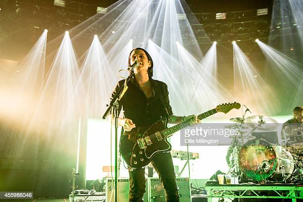 Brian Moloko of Placebo performs onstage headlinging the 23rd night of the 2014 iTunes Festival at The Roundhouse on September 23 2014 in London...