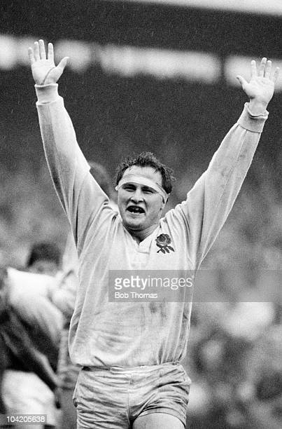 Brian Moore of England celebrates victory after the England v Scotland Rugby Union International match played at Twickenham on the 4th April 1987...