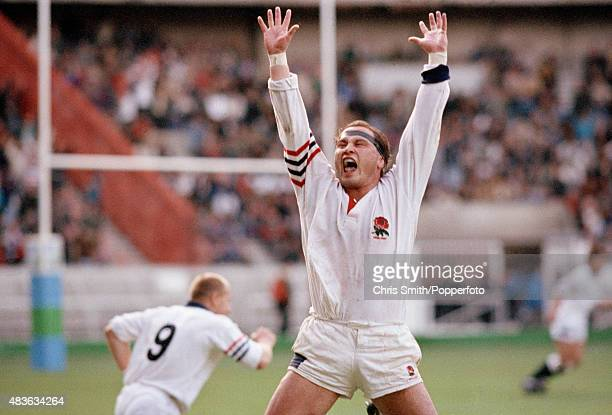 Brian Moore of England celebrates victory at the end of the Rugby Union World Cup match between France and England at Parc des Princes in Paris on...