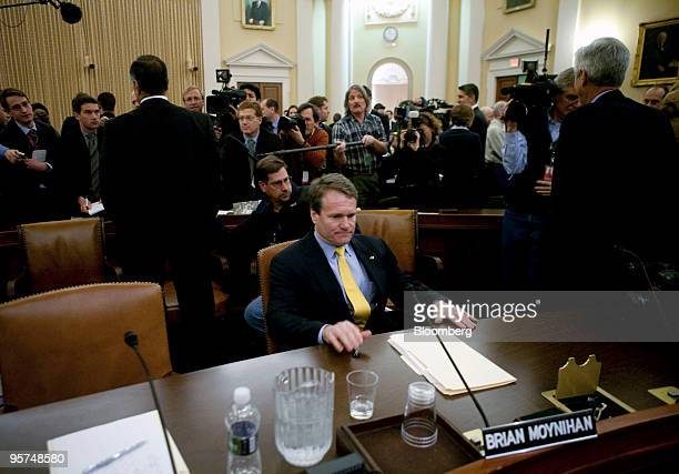 Brian Moynihan president and chief executive officer of Bank of America Corp sits at the witness table during a break in a hearing of the Financial...