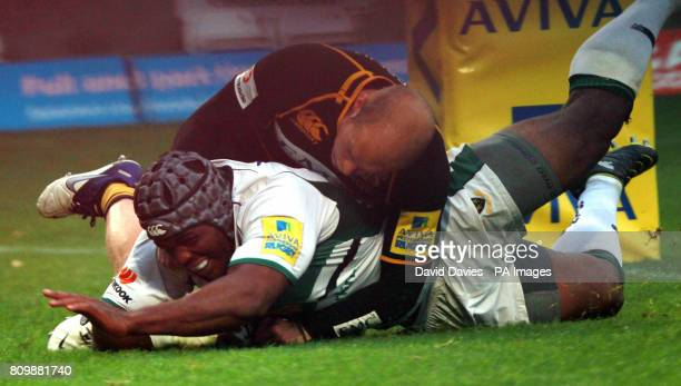 Brian Mujati scores Northampton's second try during the Aviva Premier League match at Adams Park High Wycombe