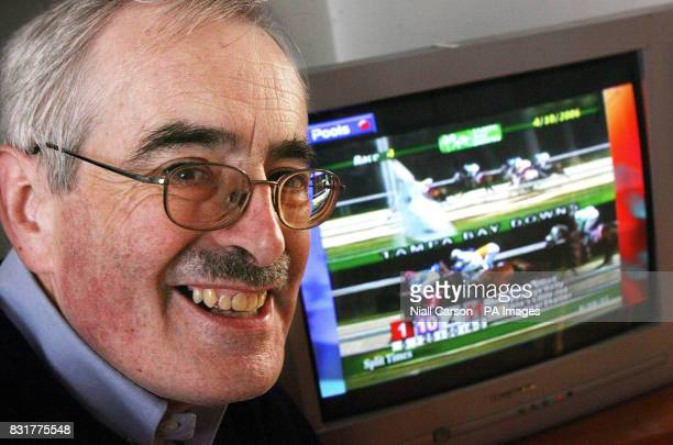 Brian Munnelly a meteorologist who won 480000 after placing a 10 bet at the start of the National hunt season watches the races from his Dublin home...