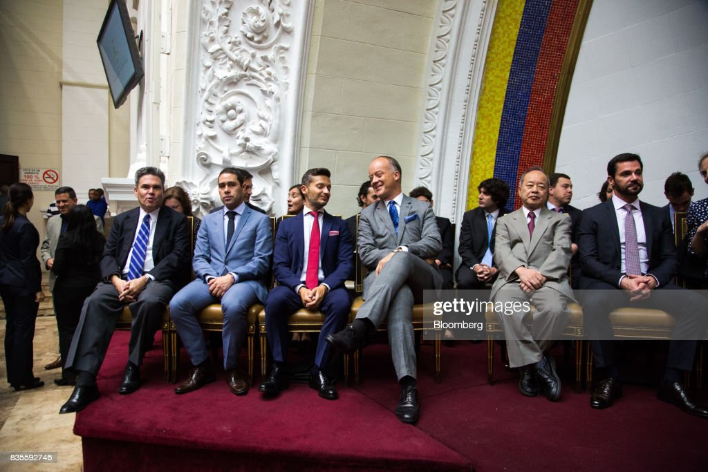 Brian Naranjo, deputy chief of mission at U.S. Embassy in Caracas, seated left, and other diplomats attend a special session of the National Assembly of Caracas, Venezuela, on Saturday, Aug. 19, 2017. Venezuela's new legislative super body took over the functions of the country's only remaining opposition-run institution -- the National Assembly -- by approving a decree that empowers it to pass laws on a range of issues. Photographer: Wil Riera/Bloomberg via Getty Images