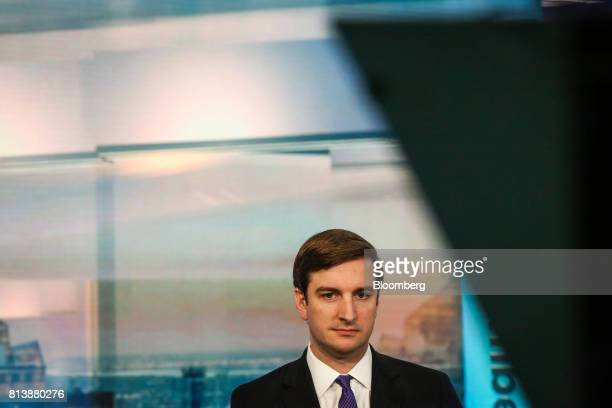Brian Nick chief investment strategist for TIAA CREF Investment Management LLC listens during a Bloomberg Television interview in New York US on...