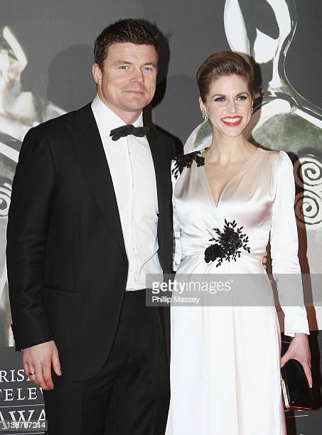 Brian O'Driscoll and Amy Huberman arrives at Annual Irish Film Television Awards at Convention Centre Dublin on February 11 2012 in Dublin Ireland
